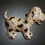 Vintage Rhinestone and Black Enamel Dalmatian Puppy Brooch