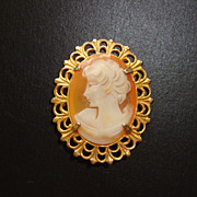 Signed Amsel Gold Filled Cameo Brooch