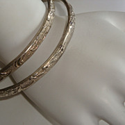 Pair of  Vintage Sterling Silver Taxco Bangle Bracelets