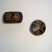 Pair of Antique Black and Gold Glass Luster Buttons