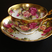 Royal Chelsea GOLDEN ROSE Heavy Gold Tea Cup & Saucer ~ Pattern 3983A