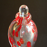 Vintage Art Glass Clear with Red Splatter Perfume Bottle