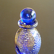Vintage Cobalt with Gold and Silver Splatter Perfume Bottle