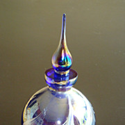 Gorgeous Designs China Perfume Bottle with Sticker ~ Carnival Glass Color
