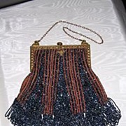 Victorian Blue Carnival Glass Opera Purse