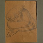 MICHAEL LENSON (1903-1971) WPA American Scene era pencil drawing of woman