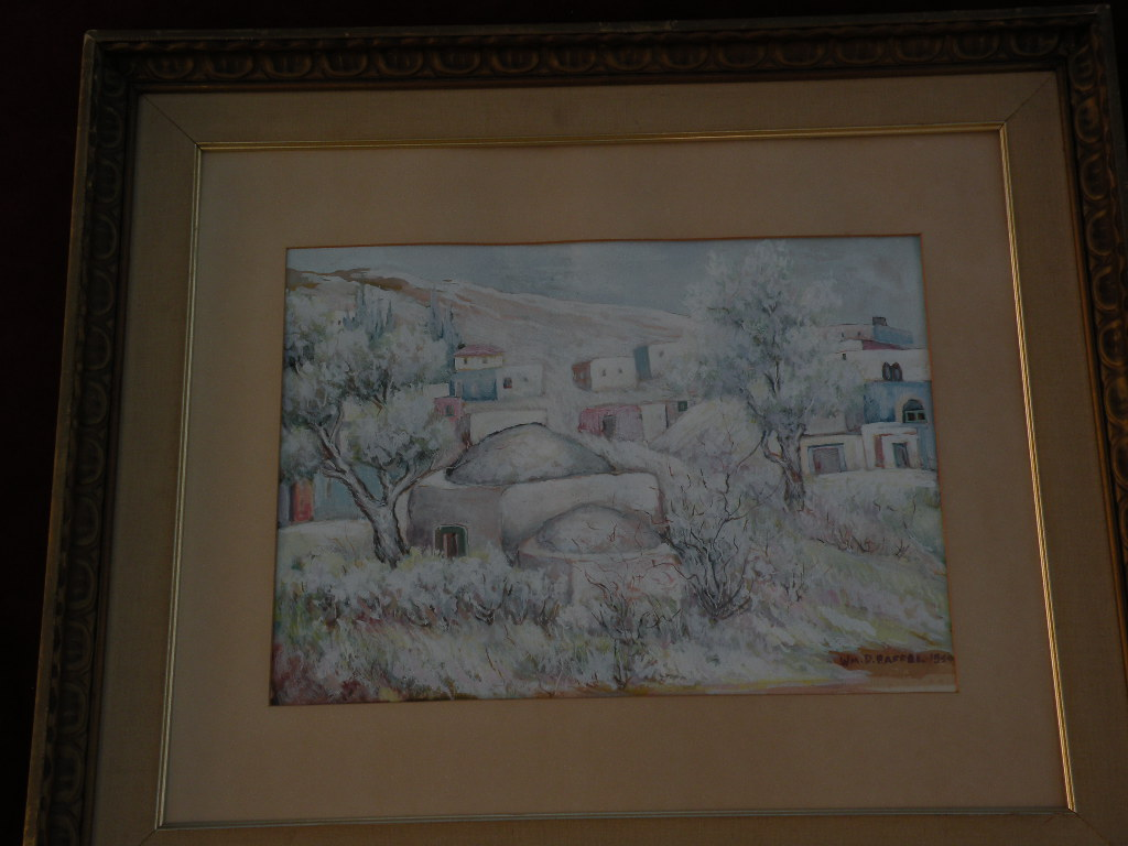 Israeli art signed 1954 modern watercolor gouache landscape painting of Israel