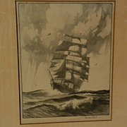 GORDON GRANT (1875-1962) American marine art pencil signed lithograph print of clipper ship