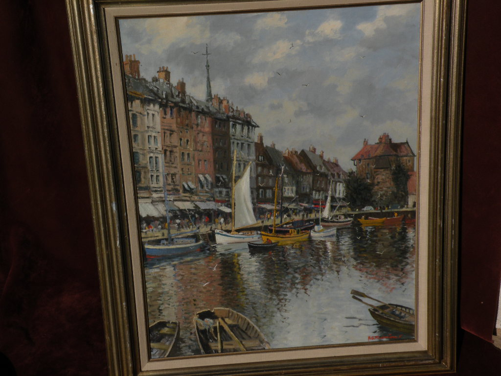 A. G. FLEMING (British, 20th century) beautiful and accomplished impressionist painting of French harbor