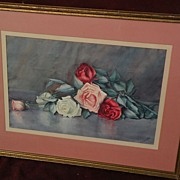 KATHRYN  LEIGHTON (1875-1952) watercolor painting of roses by master of indian portraits and S