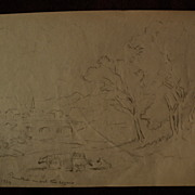 XANTHUS RUSSELL SMITH (1839-1929) noted American artist pencil drawing study of rural landscap