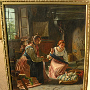 Antique copy of 19th century European interior genre painting