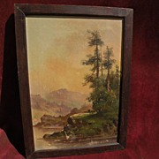 "MEYER STRAUS (1831-1905) California art Hudson River inspired river landscape painting ""O"