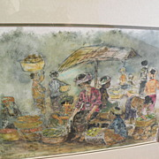 Indonesian art signed 1959 mixed media painting women at a marketplace