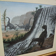 Natural History original art detailed prehistory dinosaurs painting by English artist RICHARD