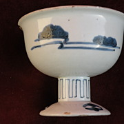 Asian porcelain Japanese dish on short pedestal or foot