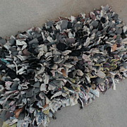 American folk art hand made rag rug circa 1920 to 1940
