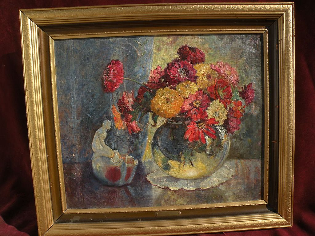 Texas art vintage still life oil painting likely by FRANK KLEPPER (1890-1952)