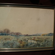 NESTOR OUTER (1865-1930) Belgian impressionist large watercolor painting of herons in a swamp