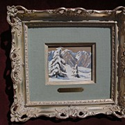 FRANK CUPRIEN (1871-1948) California plein air art framed gouache on paper mountain snow ...
