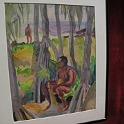ROBERT LEE ESKRIDGE (1891-1975) Hawaiiana watercolor painting of male figures in a beach lands