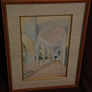 ANGELINA BELOFF (1884-1969) early mistress of Diego Rivera rare watercolor painting of Jalapa