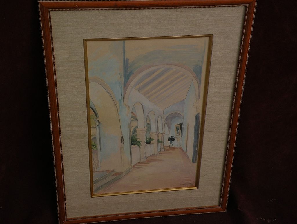 ANGELINA BELOFF (1884-1969) early mistress of Diego Rivera rare watercolor painting of Jalapa Mexico colonnaded hallway dated 1937