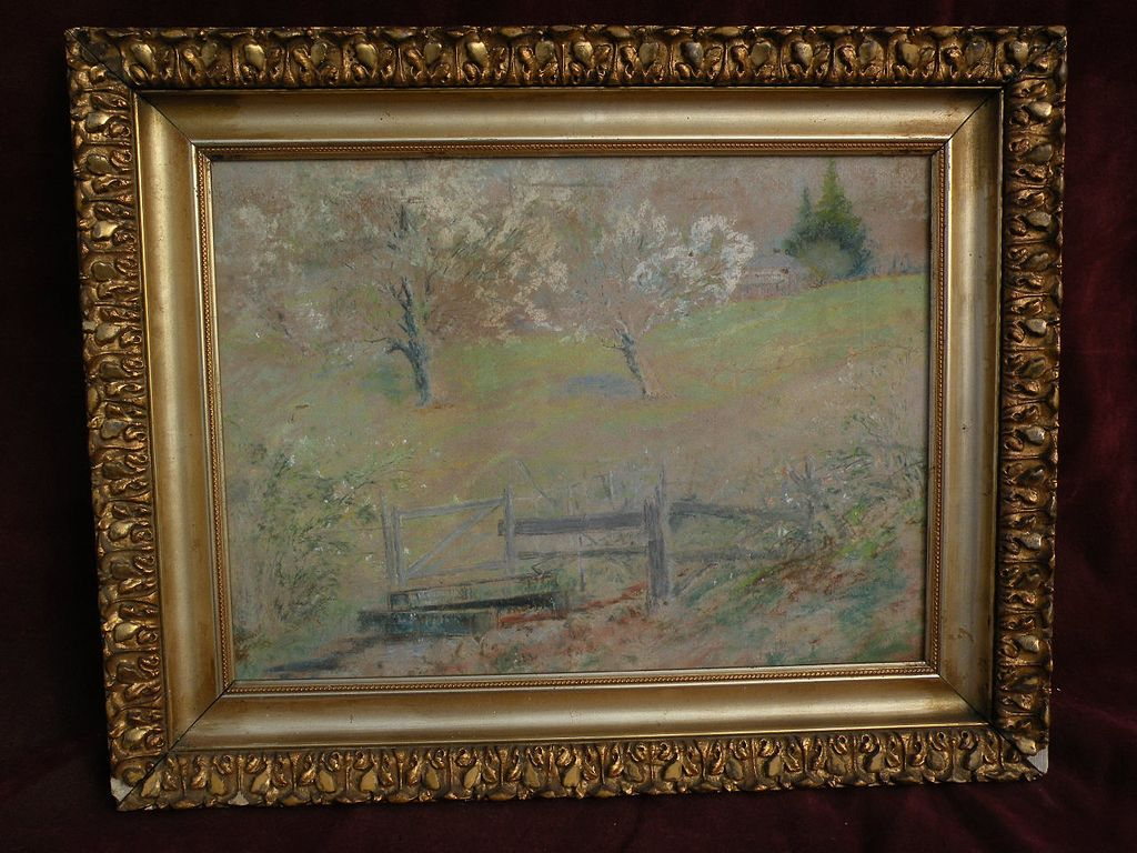 "FRANK J. GIRARDIN (1856-1945) Indiana and California impressionist pastel drawing of spring landscape ""The Old Watering Place"""
