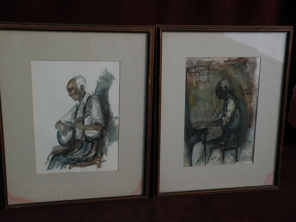 **PAIR** of signed watercolor paintings New Orleans Louisiana art