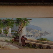 Y. GIANNI Italian gouache drawing trellised terrace above steep coastline