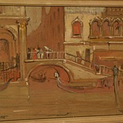 DANA BARTLETT (1882-1957) vintage California plein air art impressionist drawing of Venice Ita