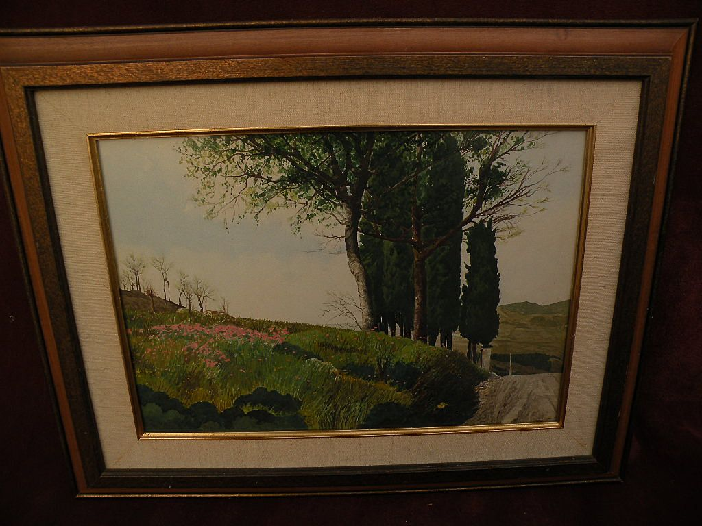 Italian watercolor extensive landscape painting signed F. PRATESI