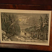"CURRIER & IVES ""Skating Scene--Moonlight"" scarce small folio hand colored lithograph"