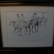 JAMES COLT (1922-2005) California and western artist original double-sided drawing of horses a