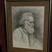 LILLIE MAY NICHOLSON (1884-1964) major California impressionist artist early charcoal portrait