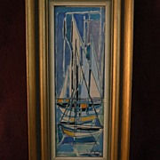JEAN CHEVOLLEAU (1924-1996) color modernist drawing of boats in harbor by noted School of Pari