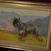 Dog art pastel painting of schnauzer in landscape by noted Alaska artist JOSEPHINE CRUMRINE (1