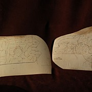 PAIR of circa 1840's American school children hand drawn maps of New York State ...