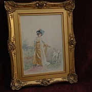 JULES GIRARDET (1856-1946) watercolor drawing of lady with bonnet and lamb by classical academ