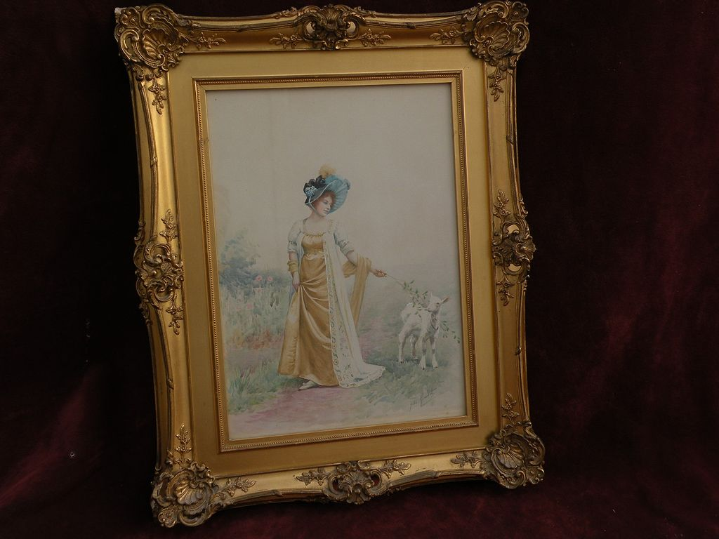 JULES GIRARDET (1856-1946) watercolor drawing of lady with bonnet and lamb by classical academic French artist
