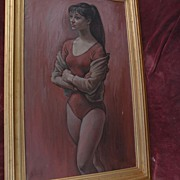 SAUL SCHARY (1904-1978) large painting of ballerina by well listed noted American artist