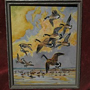 Oil on board of Canada Geese likely painted by RICHARD DETREVILLE (1864-1929) Northern Califor