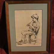 "JOHN GEORGE BROWN (1831-1913) American art etching print titled ""Business Neglected"""