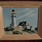 "EDWARD HOPPER (1882-1967) copy of his famous 1929 masterpiece painting ""Lighthouse at Two"