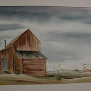 American art 1941 signed watercolor with regionalist style