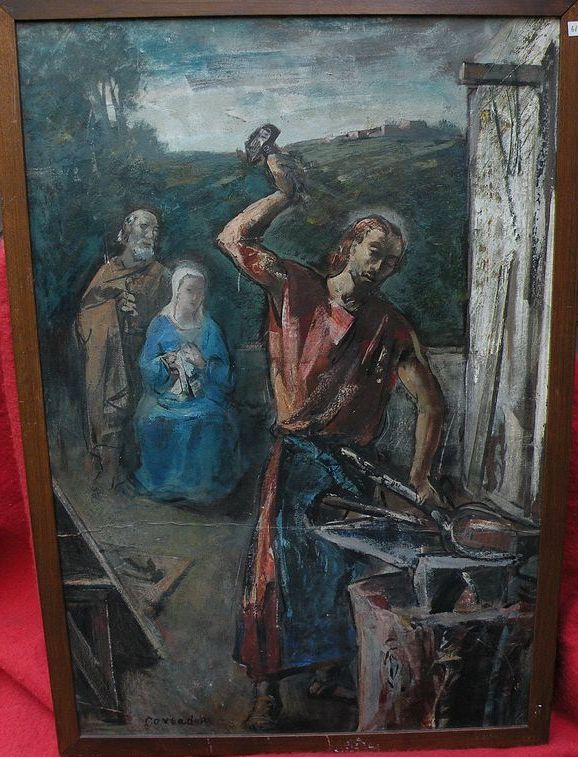 SILVIO CONSADORI (1909-1994) double sided painting of religious subject by well listed Italian modern artist