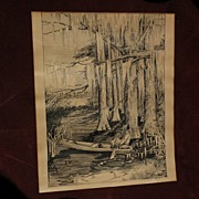 Florida art original 1917 signed ink drawing of a boy in a skiff in a cypress swamp