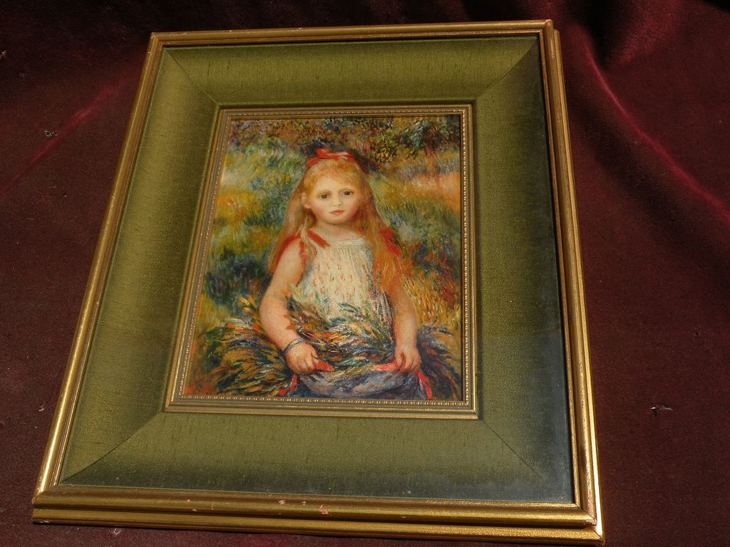 PIERRE AUGUSTE RENOIR (1841-1919) framed reproduction print &quot;La Fillette a la Gerbe&quot; 1888