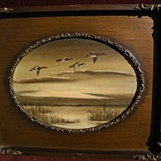 Decorative painting of ducks flying over a marsh