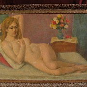 WILLIAM R. SHULGOLD (1897-1989) large poetic reclining nude painting by well listed American i